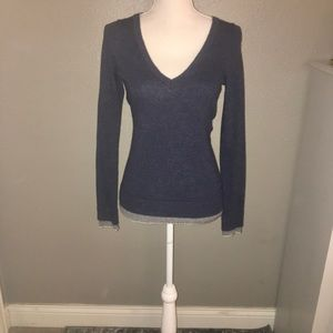 NWOT SZ XS BANANA REPUBLIC NAVY SWEATER GRAY TRIM